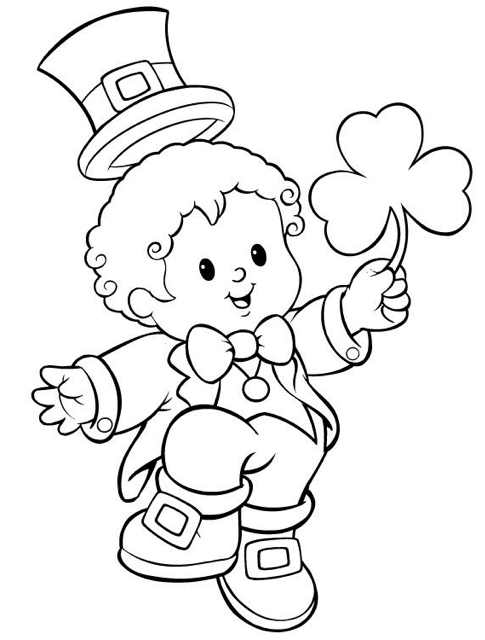 Boy Dressed As Leprechaun Coloring Picture