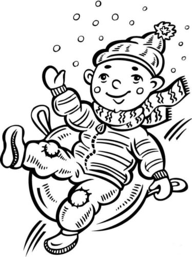 Boy Sliding Down Snow Coloring Page