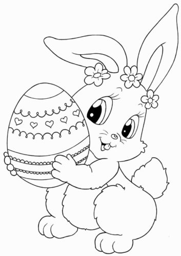 Bunny Holding An Easter Egg Coloring Page