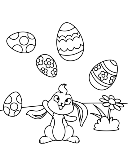 Bunny Juggling Easter Eggs Coloring Page