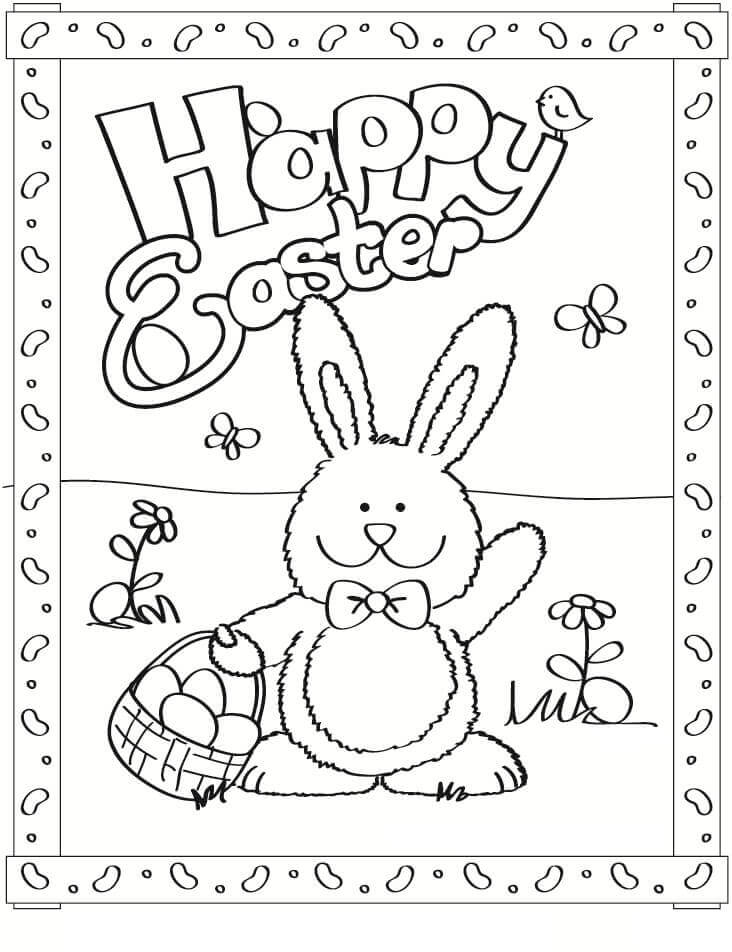 Bunny Wishing Happy Easter Coloring Page