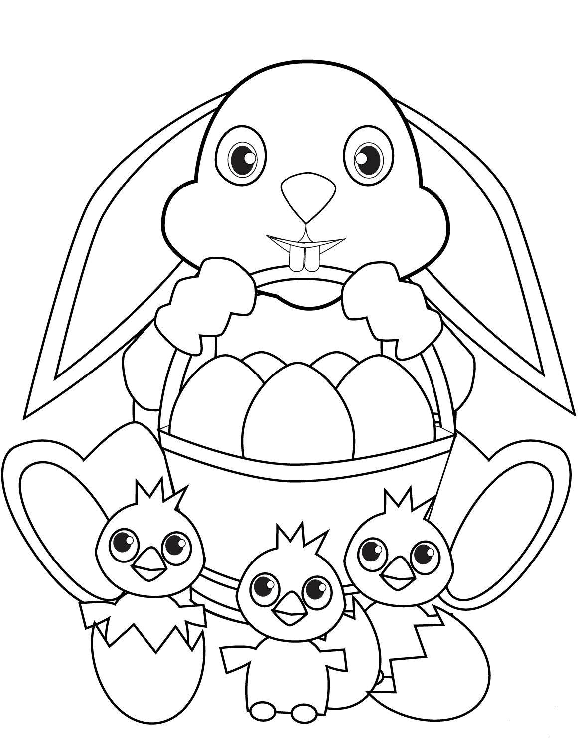 Bunny With Easter Eggs Coloring Page