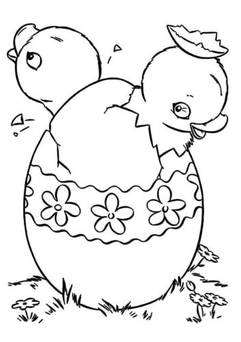 Chicks Coming Out Of Easter Eggs Coloring Page