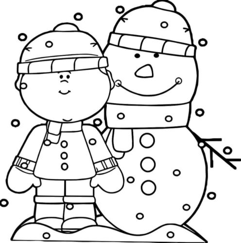 Child With Snowman Coloring Page