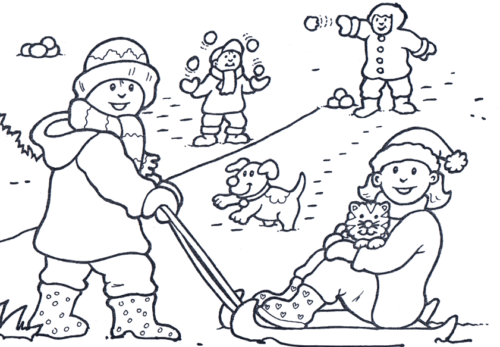 Children Enjoying In Snow Coloring Page
