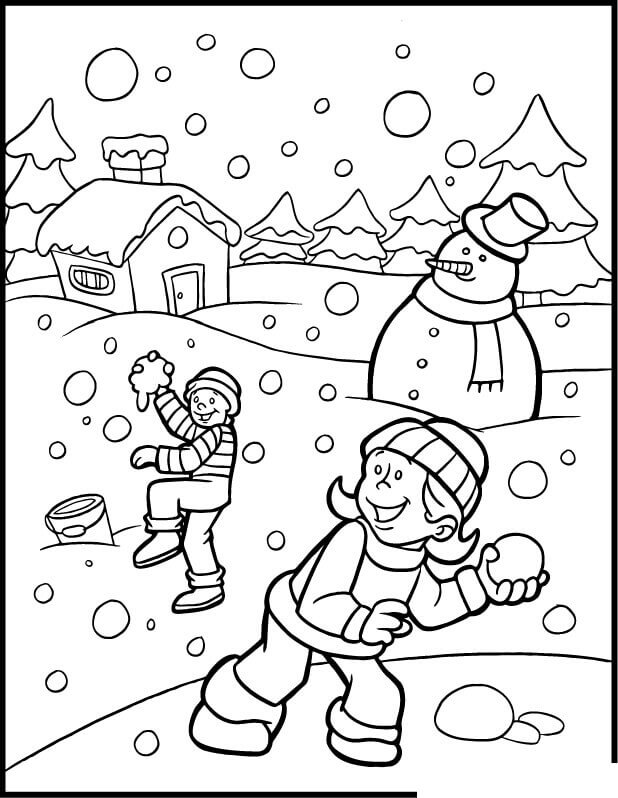 Children Playing Snow Fight coloring page