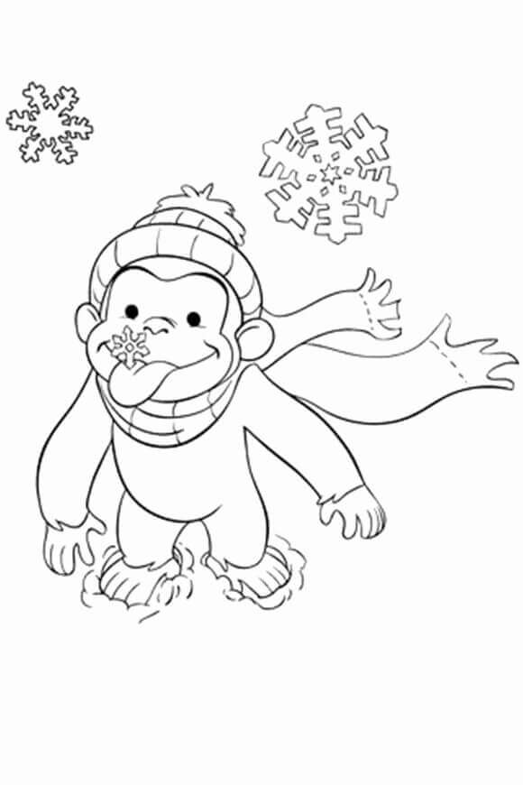 Curious George Enjoying Snowflakes