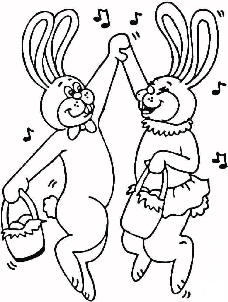Easter Bunnies Dancing Coloring Page