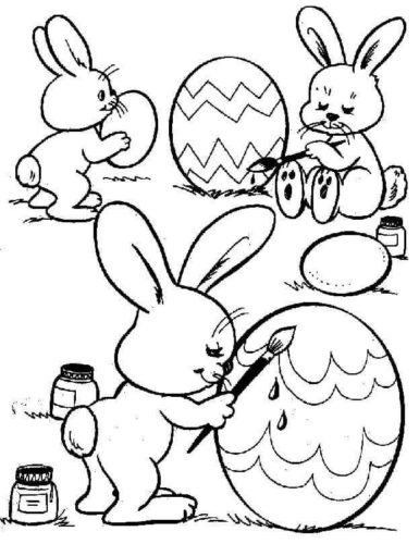 Easter Bunnies Painting Eggs Coloring Page