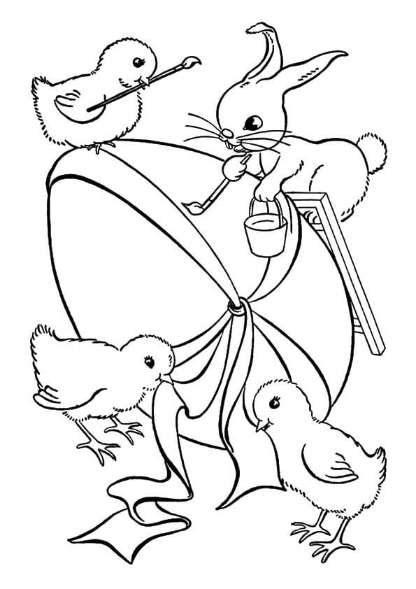 Easter Bunny And Chicks Coloring Page