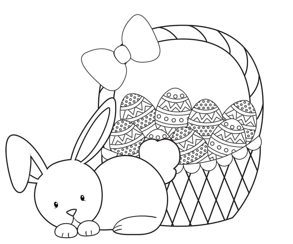 Easter Bunny Coloring Page For Kids