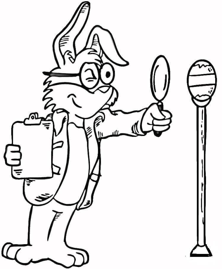 Easter Bunny Inspecting Egg Coloring Page