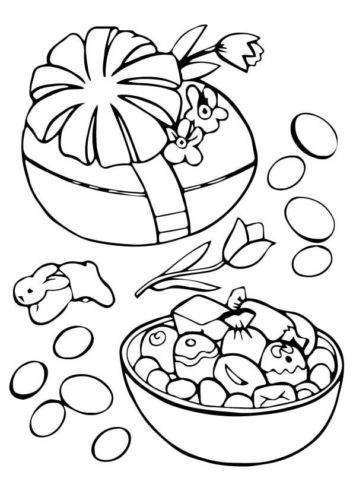 Easter Egg With Candies Coloring Page