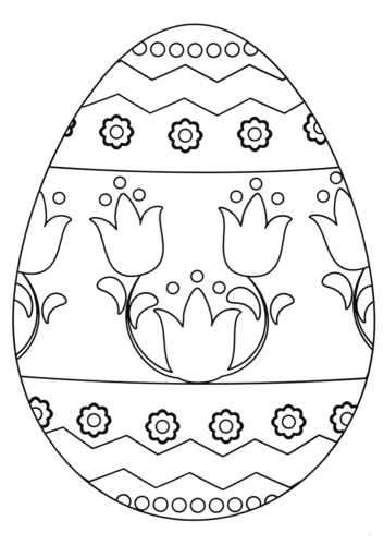 Easter Egg With Floral Pattern Coloring Page