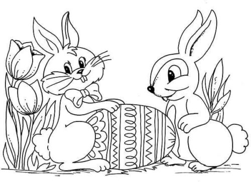 Easter Egg and Bunny Coloring Picture