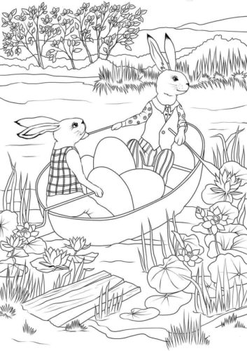 Easter Rabbits Coloring Pages