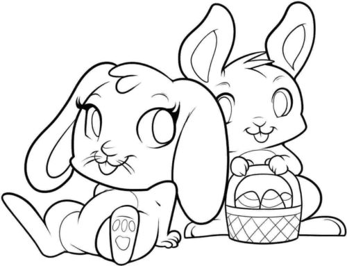 Easter Rabbits Coloring Sheets Printable
