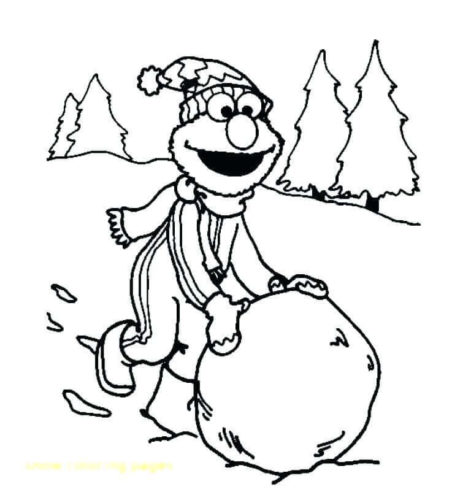 Elmo Enjoying In Snow Coloring Page