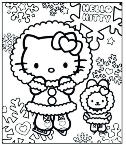 Hello Kitty Enjoying Snow Coloring Page