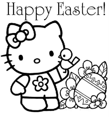 Hello Kitty With Easter Egg Coloring Page