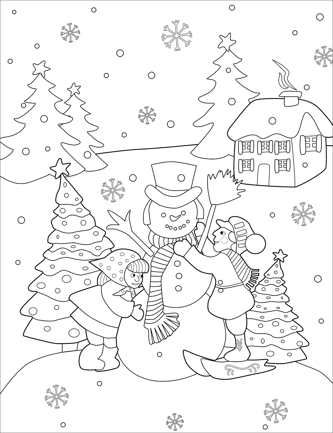 Kids Making Snowman Coloring Page