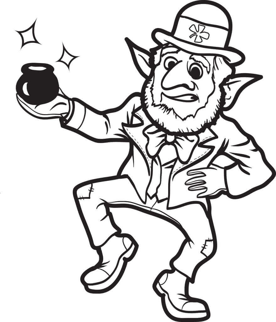 Leprechaun Got A Small Pot Of Gold Coloring Page