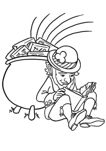 Leprechaun Reading Book Coloring Page