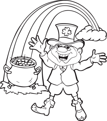 Leprechaun With His Pot Of Gold Coloring Page