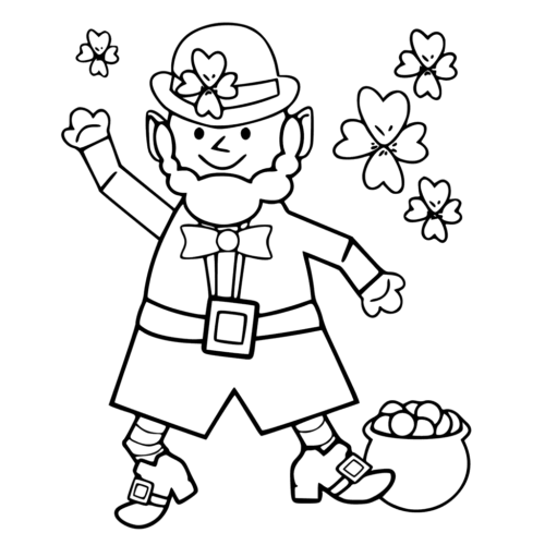 Leprechaun With Shamrocks Coloring Page