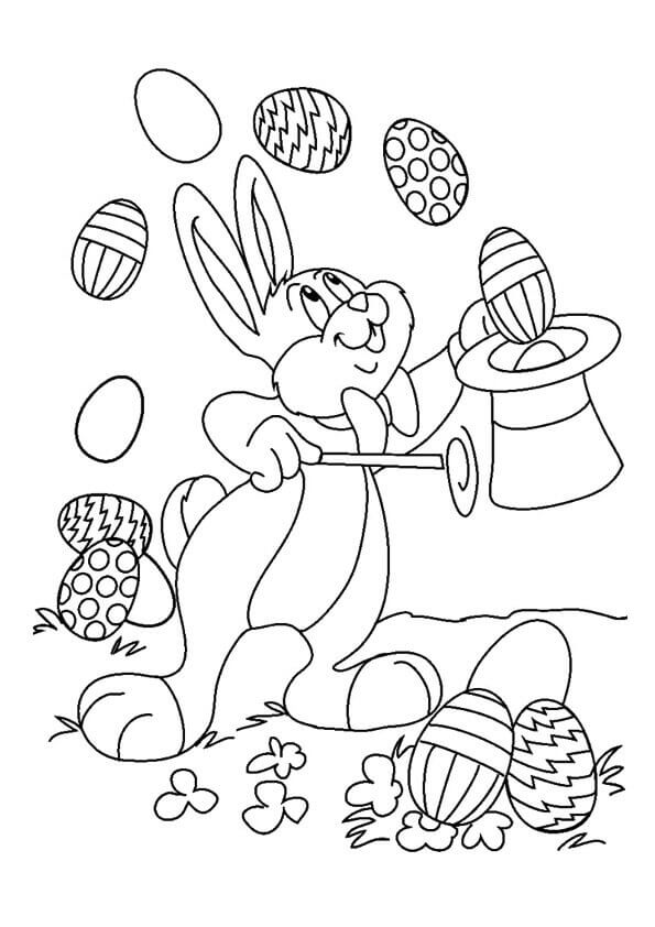 Magician Easter Bunny Coloring Page