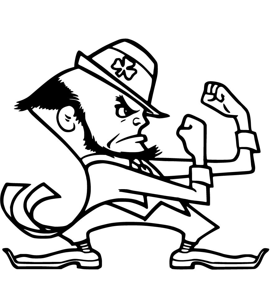 Notre Dame Mascot Leprachaun Cloring Page
