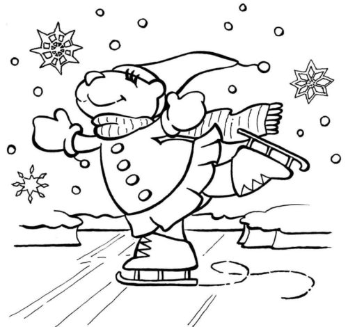 Skating In Snow Coloring Page