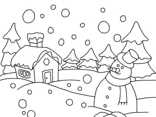 Snow Coloring Pages For Preschoolers