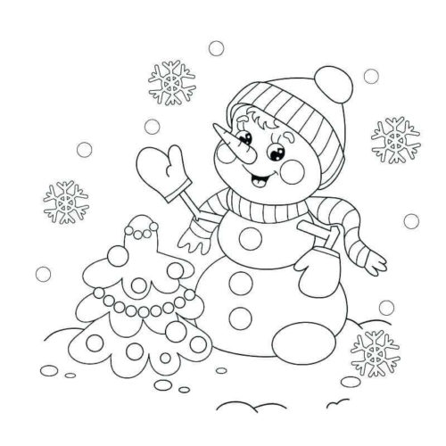 Snowman With Christmas Tree Coloring Picture