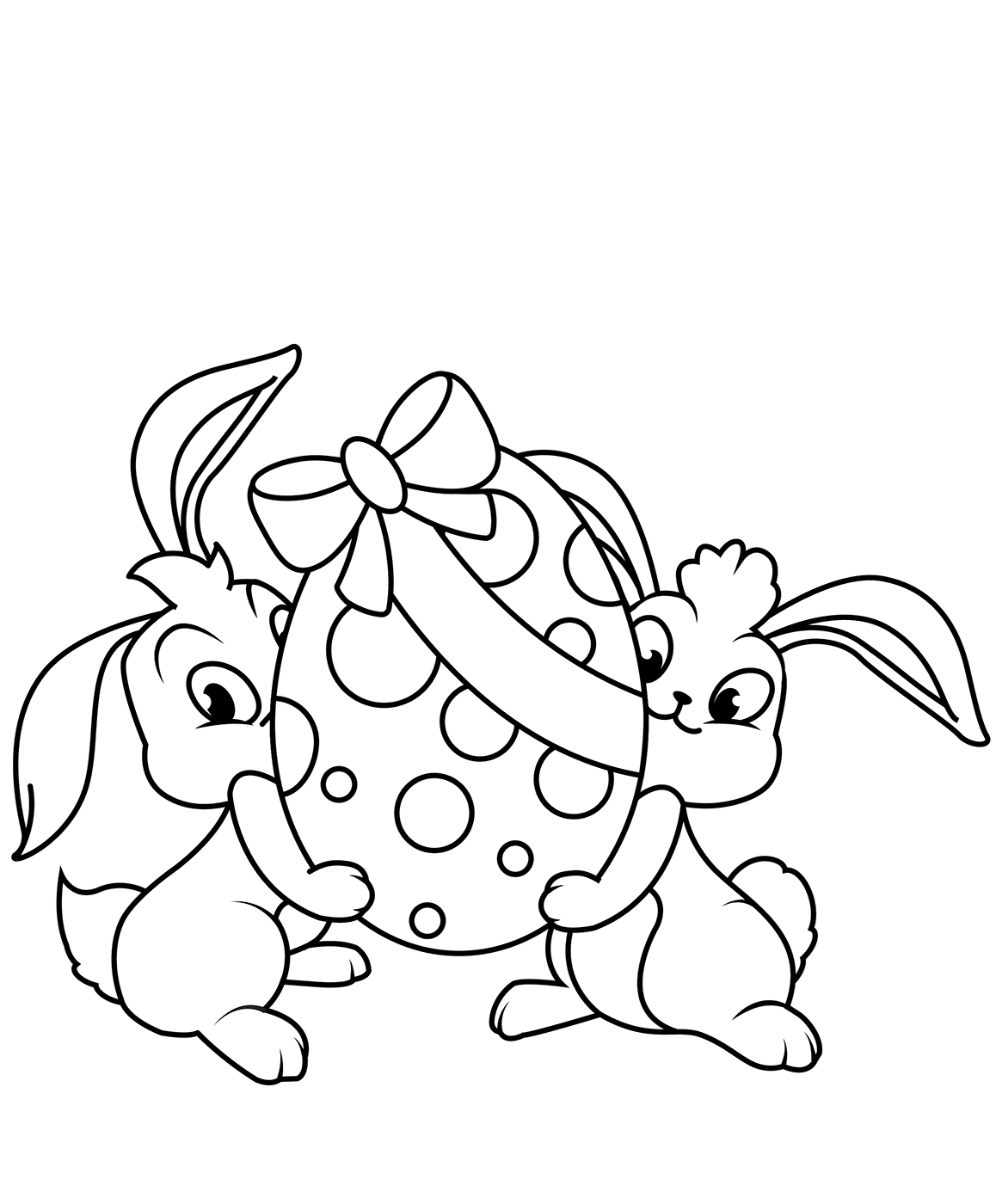 Two Bunnies With A Huge Easter Egg Coloring Page