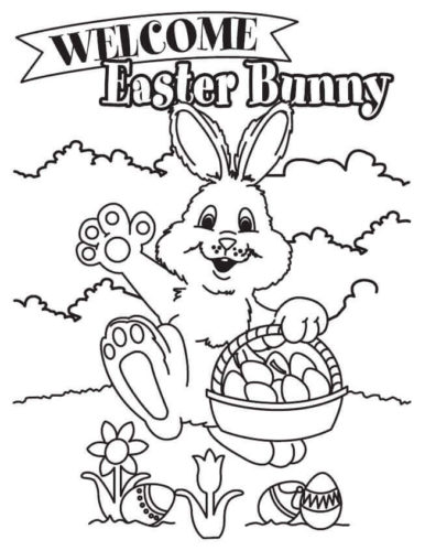 Welcome Easter Bunny Coloring Page
