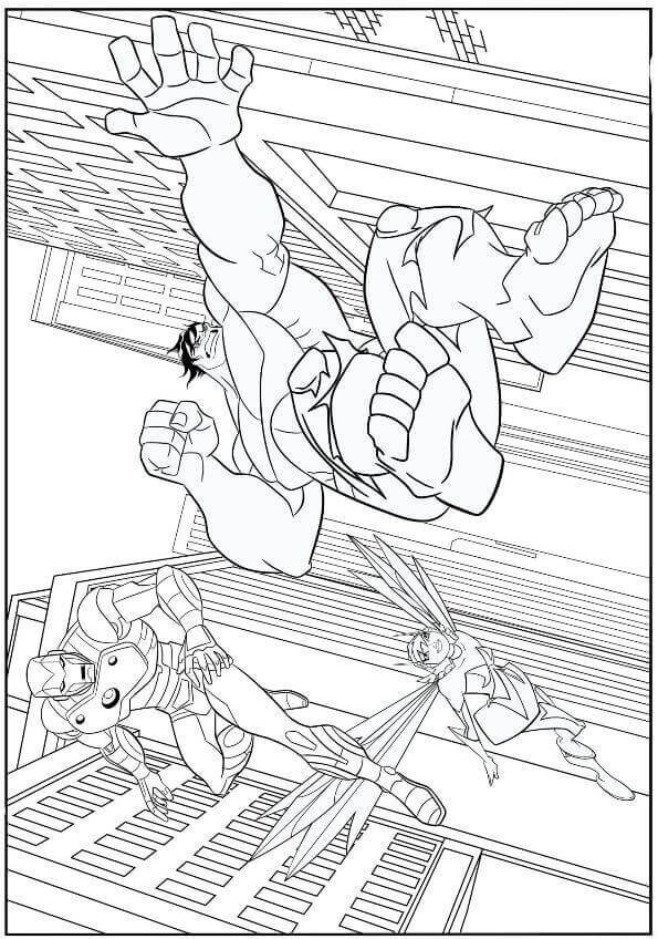 Avengers Endgame Coloring Page Iron Man Wasp And Hulk