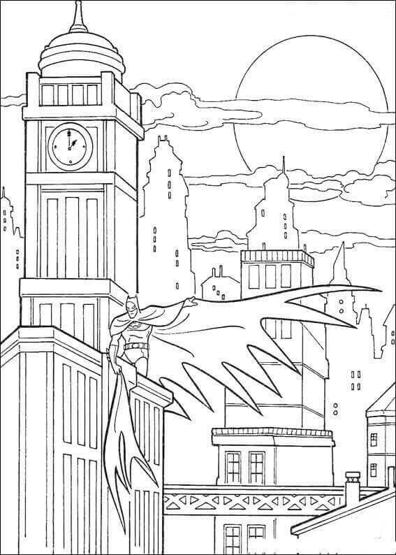 Batman In Gotham Coloring Page