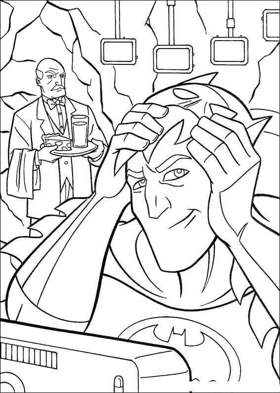 Batman Trying Out Mask Coloring Page
