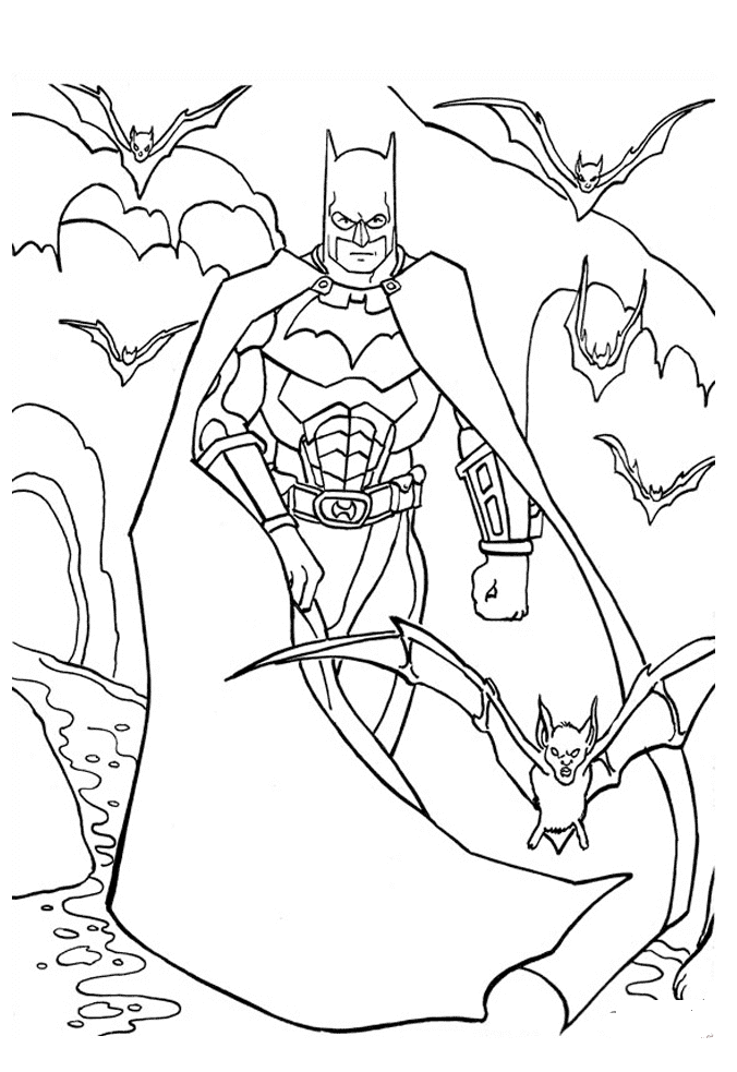 Batman With Bats Coloring Page