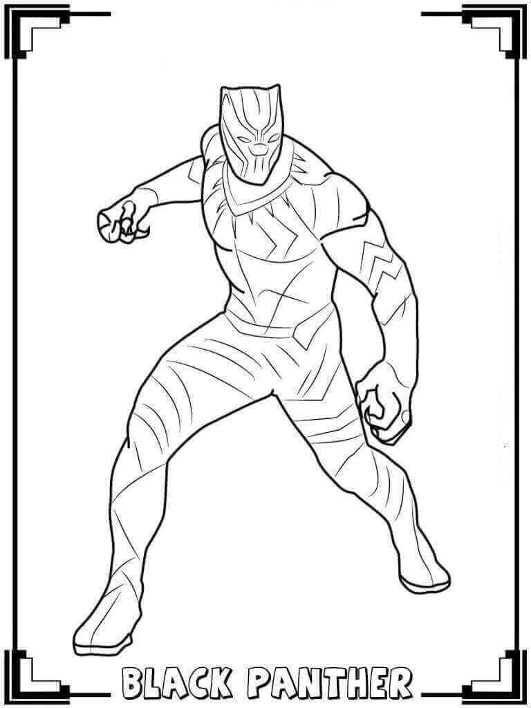 Black Panther Avenger Coloring Page