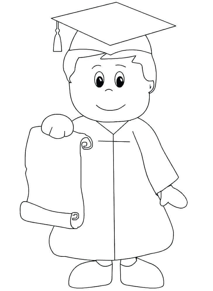 Boy On Kindergarten Graduation Day Coloring Page
