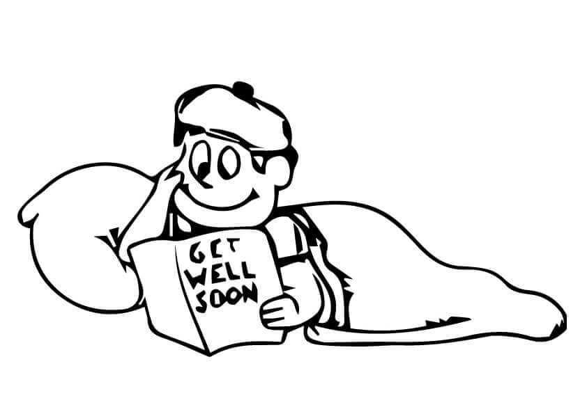 Boy Reading Get Well Soon Card Coloring Page