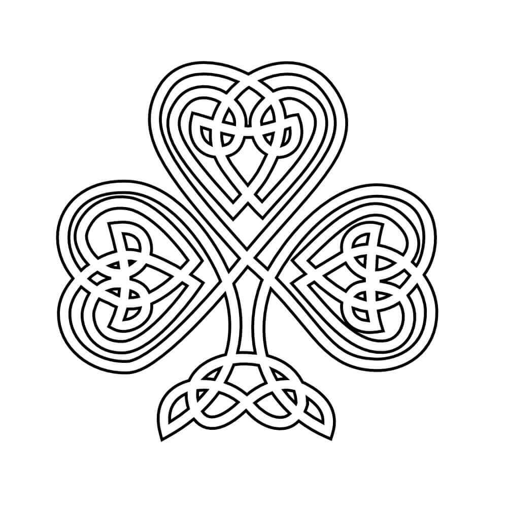 Celtic Patterned Shamrock Coloring Page