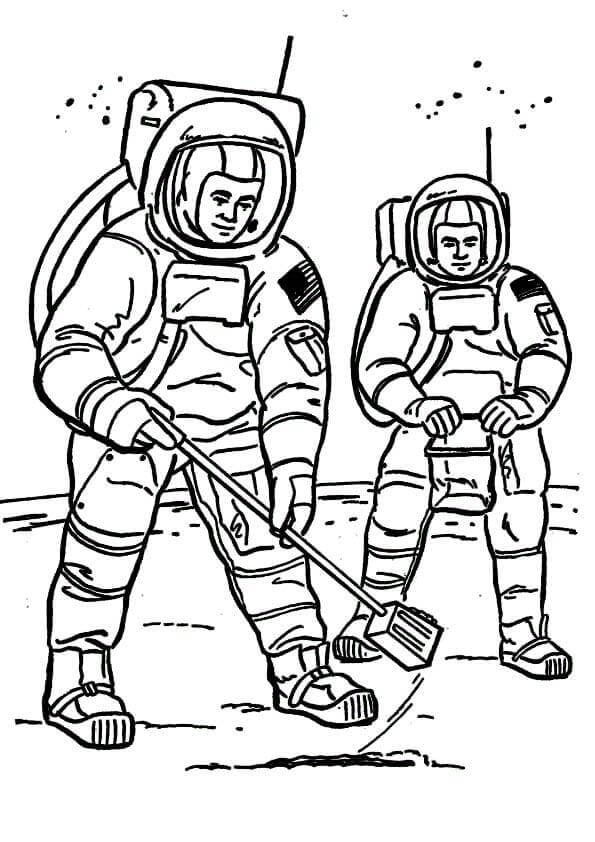 Cosmonauts On Moon Coloring Page