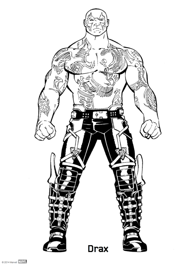 Drax From Avengers Infinity War Coloring Sheet