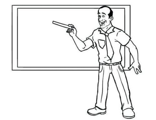 Enthusiastic Teacher Coloring Page