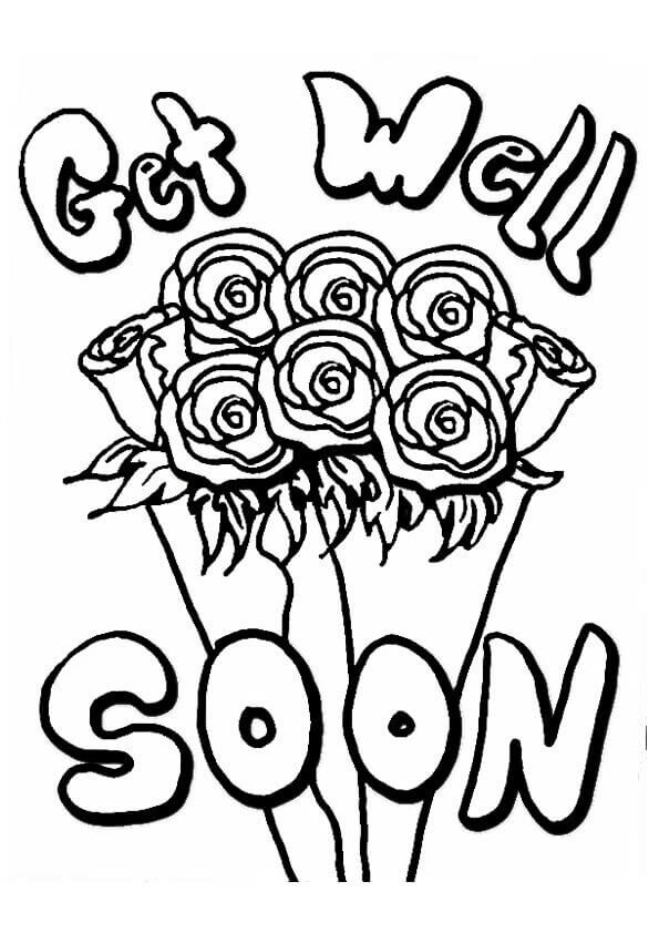 Free Printable Get Well Soon Flower Bouquet Coloring Page