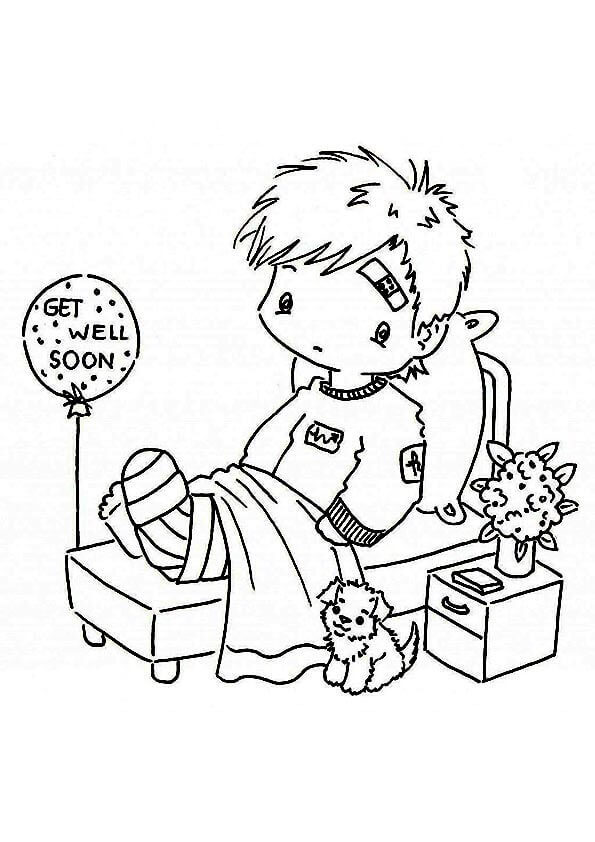 Get Well Soon Boy Coloring Page