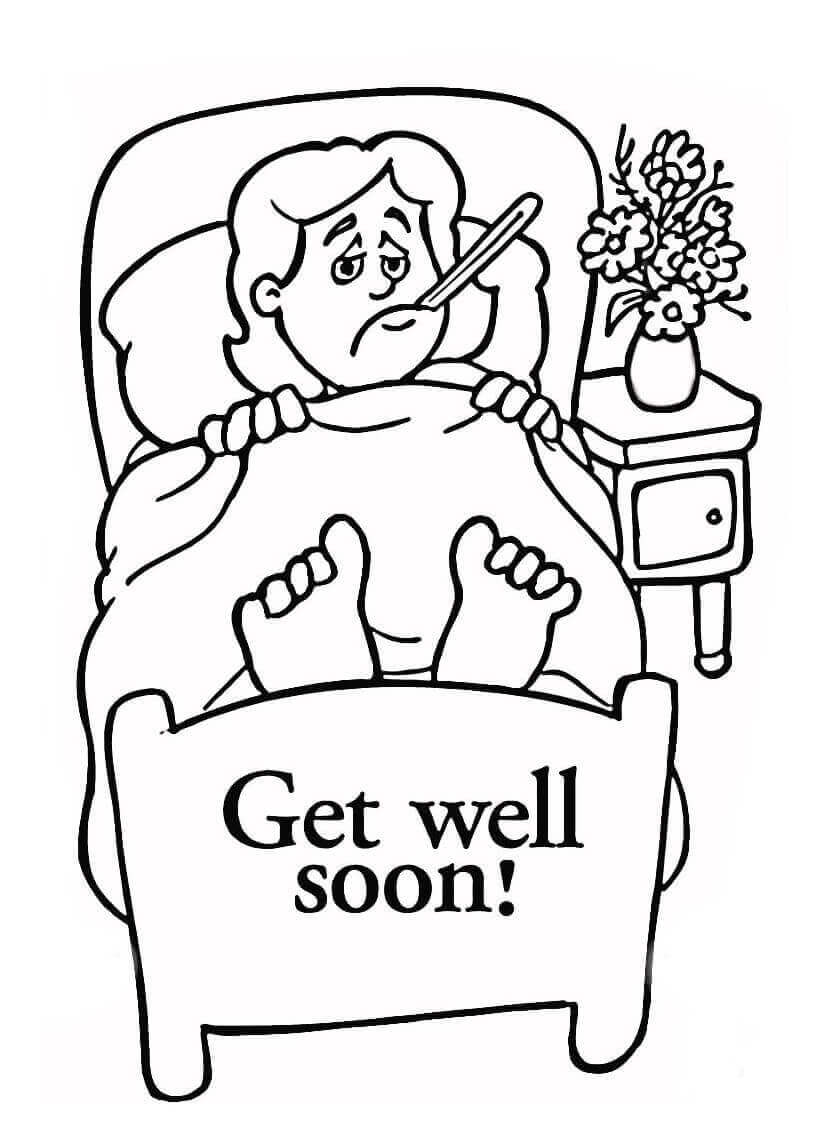 Get Well Soon Girl Coloring Page